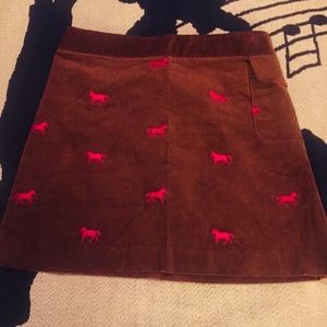 Lilly Pulitzer Corduroy Brown Skirt w/ Pink Horses